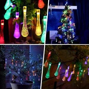 LED WATERDROP-SHAPED SOLAR STRING LIGHTS