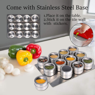 STAINLESS STEEL MAGNETIC SPICE JARS WITH WALL MOUNTED RACK (combo 12pcs)