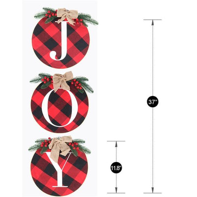 Joy Sign Plaid Christmas Wreath