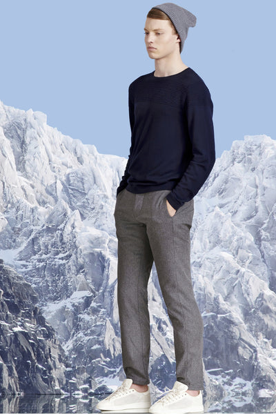 Ribbed Knitwear. Merino Wool. Blue.