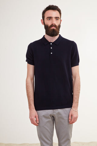 Knitted Polo. Indigo.
