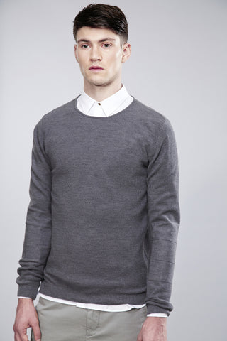 Rice stitch knitwear. Merino Wool. Grey.