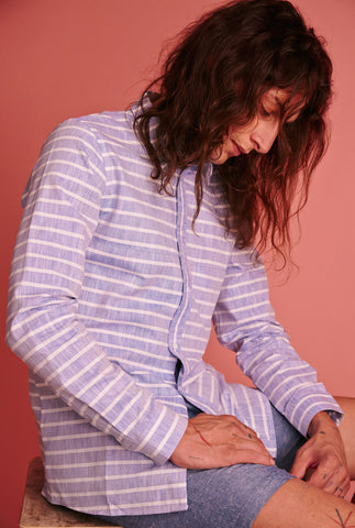 Shirt. Linen Stripes. Blue.