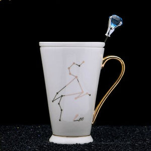 12 Constellations Mug Fashion Drawing Gold Decal Bone China Porcelain Coffee Mugs Creative With Crystal Spoon Zodiac Ceramic Cup