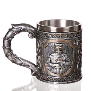 Stainless Steel Coffee Mug Tea Cup Beer Stein Tankard Wall  Water Drinkware Medieval Templar Crusader Knight Suit Armor Knight