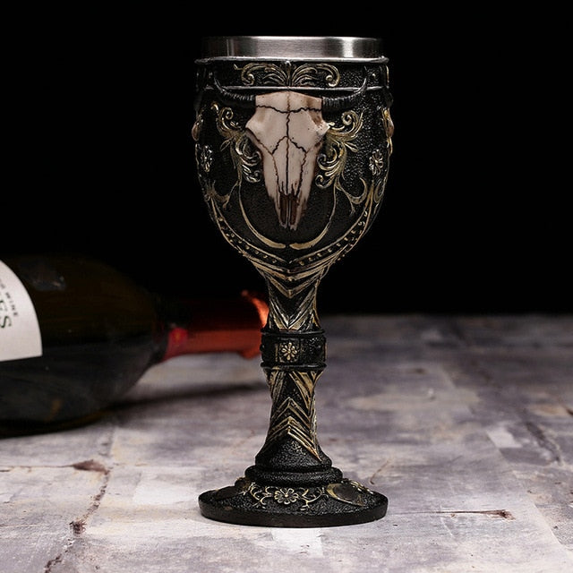 3D Gothic Skull Cup Stainless Steel Resin Fly Dragon Skeleton Design for Bar Party Home Wine Goblet Cups Halloween Gifts