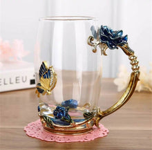 Load image into Gallery viewer, Hand-made Enamel Coffee Mug Crystal Cup Milk Lemon Flower Tea Cup High-grade Glass Drinkware Gift Couple Mug For Lover Wedding