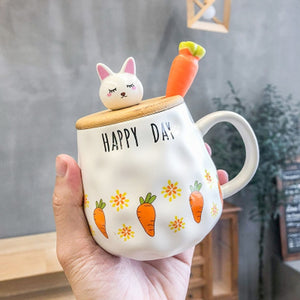 Mug Simple Korean Cute Cartoon Rabbit Ceramic Mug Spoon Carrot With Lid Girl Breakfast Milk Cup Water Cup Coffee Mug B20092