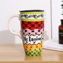 Load image into Gallery viewer, Creative Coffee Cartoon Mugs  with Lid  Ceramic Mug  Drinking Cup Large Capacity Household Juice Fruit Couple Gift Milk Tea Cups
