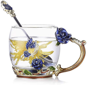 Enamels Butterfly Flower Clear Lead-Free Glass Coffee Mugs Tea Cup with Steel Spoon and Gifts Box,Personalised Gifts for Women