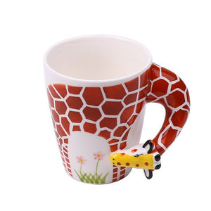 Hand Painted Ceramic Animals Mug 3D Handle Handle Cuppa Home Office Gift