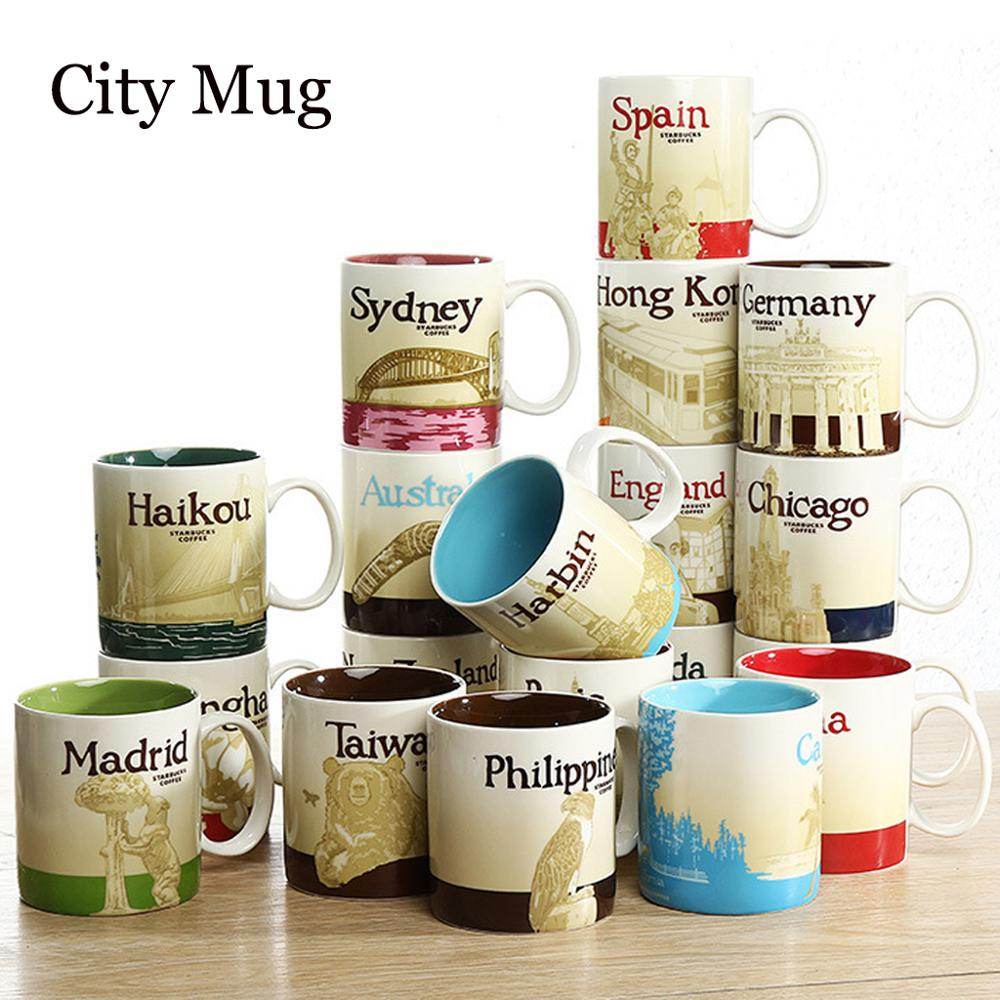 470ml Ceramic Hot Sale City Mug Large-capacity Macau Spain Country Collection Commemorative Coffee Cup Desktop Decoration
