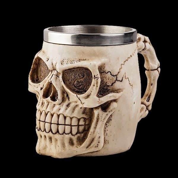 Double Layers Stainless Steel 3D Drinking Resin Skull Mugs Gothic Helmet Coffee Mug Skull Bone Knight Cup