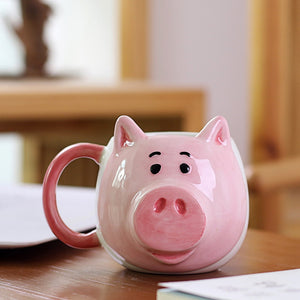 350ML Cute Pig Coffee Mug Creative Cartoon Ceramic Cup with Handle Personalized Office Cup Mugs Coffee Cups