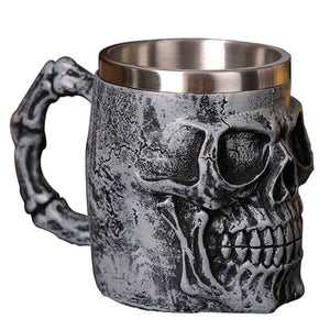 3D Personalized Skull Beer Mug Gothic Style Coffee Tea Beer Drinking Cup Home Bar Party Cool Gift for Men Halloween Mug 420ml
