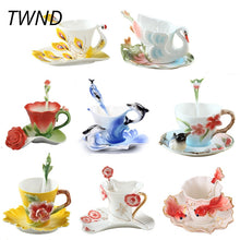 Load image into Gallery viewer, Enamel Coffee Mugs Procelain Tea Cups and Mugs With Saucer Spoon Peacock Swan Dolphins Europe Style Mark Creative Drinkware