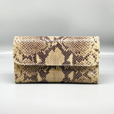 Beige Python Effect Leather Clutch Nimmo shoes