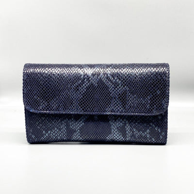 Black / Grey Python Effect Leather Clutch Nimmo shoes