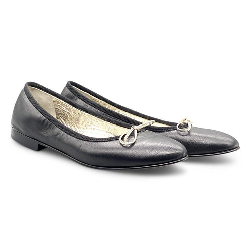 Black Leather Ballerina Shoe Nimmo shoes
