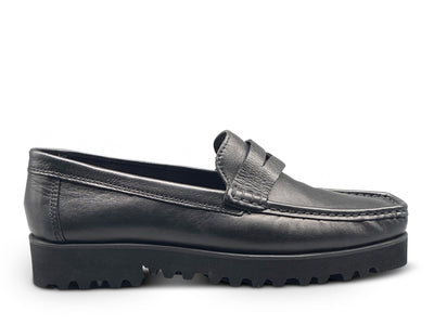 Black Leather Loafer with Vibram Sole (Square Toe Cap) Shoe Nimmo shoes