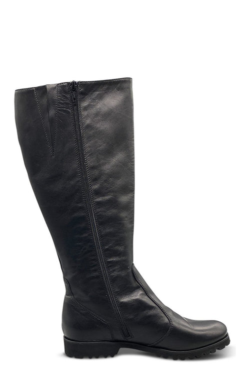 Black Leather Long Boot - (Wide - Calf) Shoe Nimmo shoes