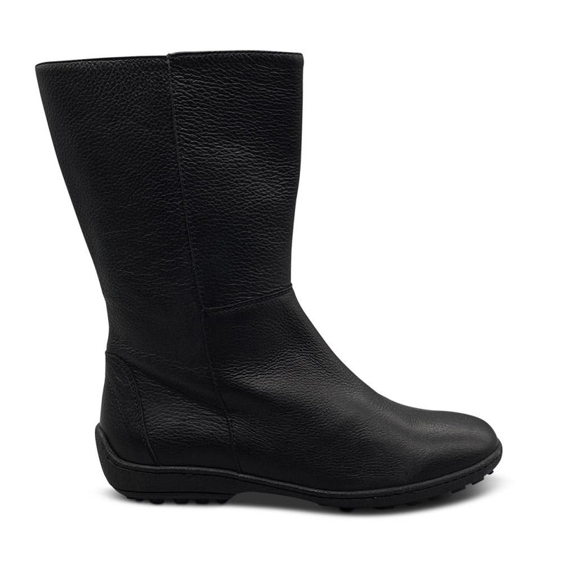 Black leather Mid- Calf Boots Shoe Nimmo shoes
