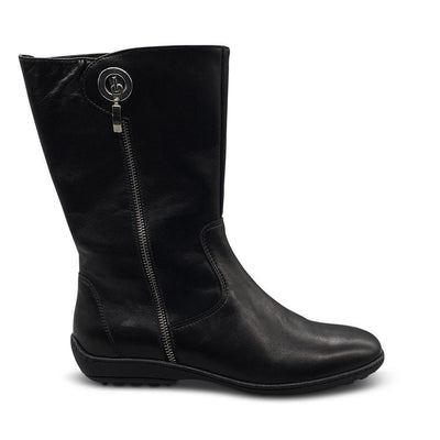 Black Leather Mid-Calf Boots with Silver Zip Clasp Shoe Nimmo shoes