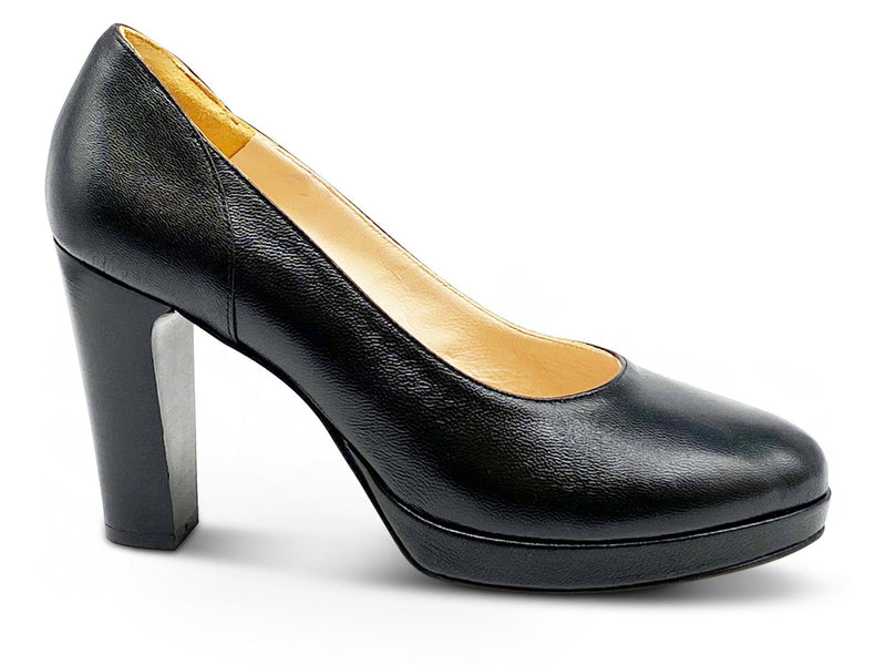 Black Leather Platform Pumps Shoe Nimmo shoes