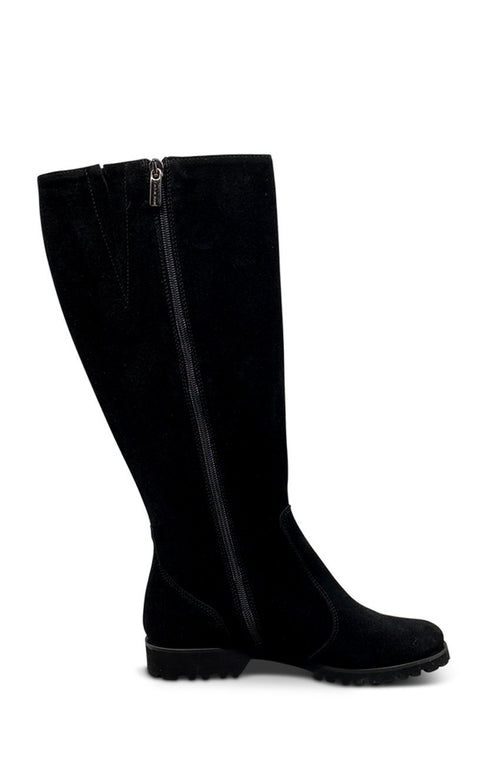 Black Long Suede Boot - (Wide - Calf) XL Shoe Nimmo shoes
