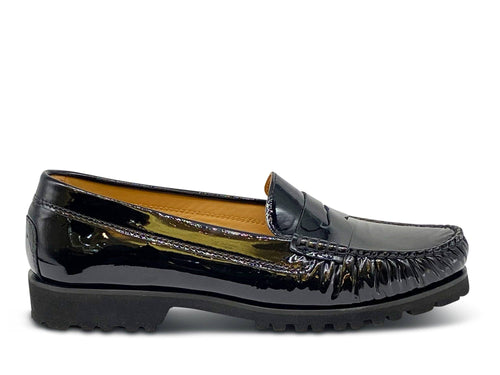 Black Patent Leather Loafer with Vibram Sole Shoe Nimmo shoes