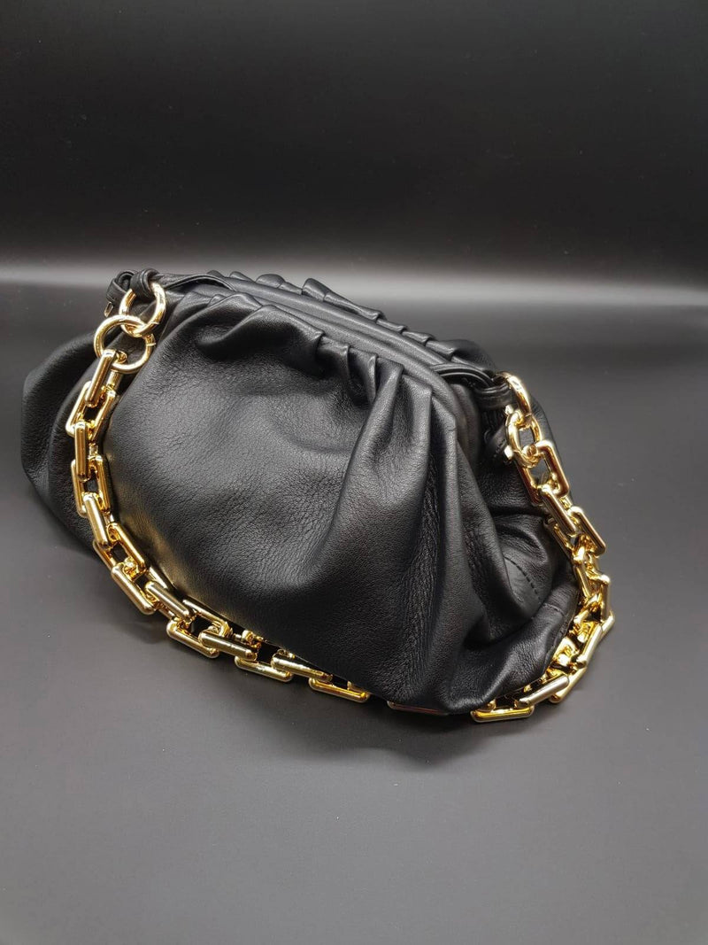 Black Pouch Bag with Gold Chain Nimmo Shoes