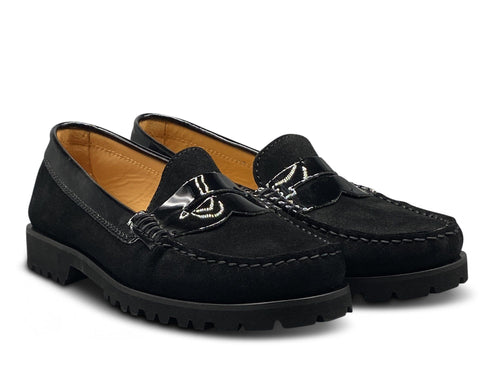 Black Suede and Patent Loafer with Vibram Sole Shoe Nimmo shoes