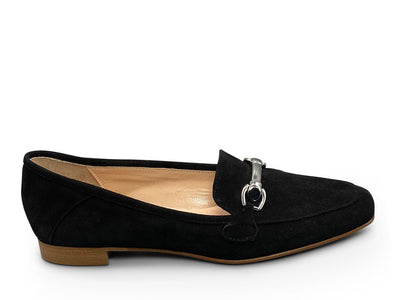 Black Suede Flat Shoe Nimmo Shoes