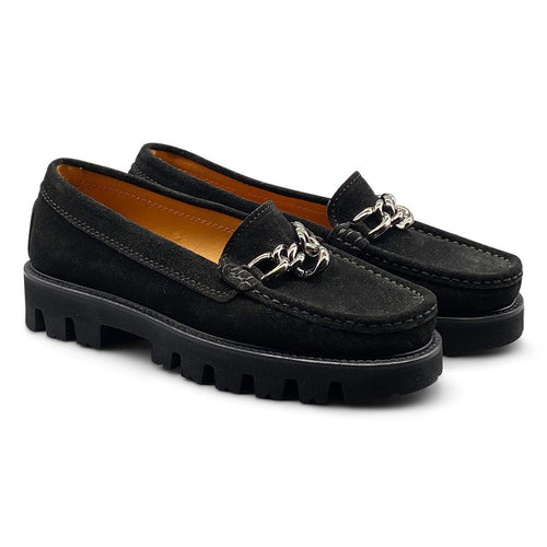 Black Suede Loafer with Silver Chain Detail Shoe Nimmo shoes