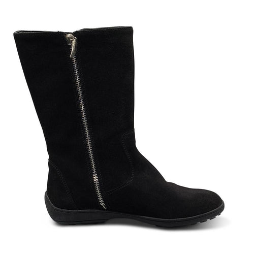 Black Suede Mid-Calf Boots with Silver Zip Clasp Shoe Nimmo shoes