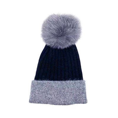 Black/Grey Wool Real Fur Bobble Hat Hat Nimmo Shoes