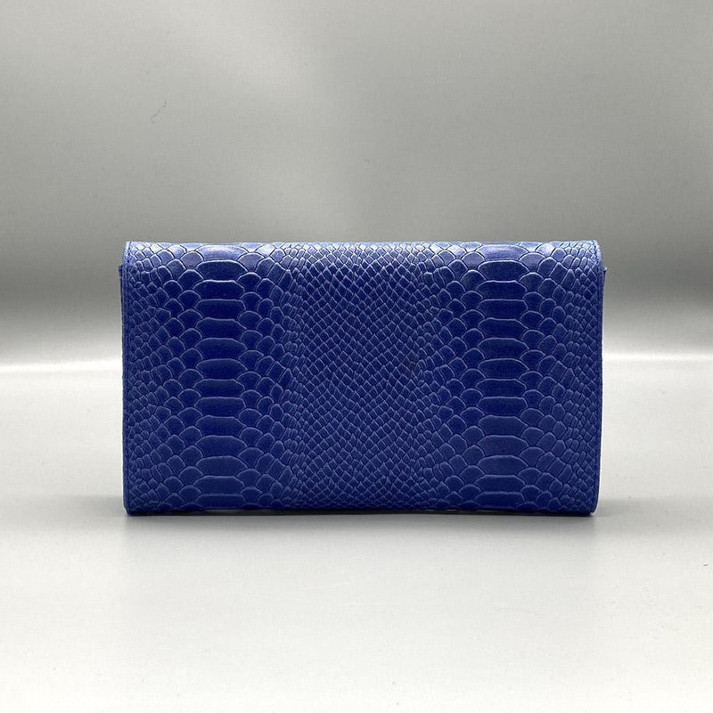 Blue Snake Embossed Leather Clutch Nimmo shoes
