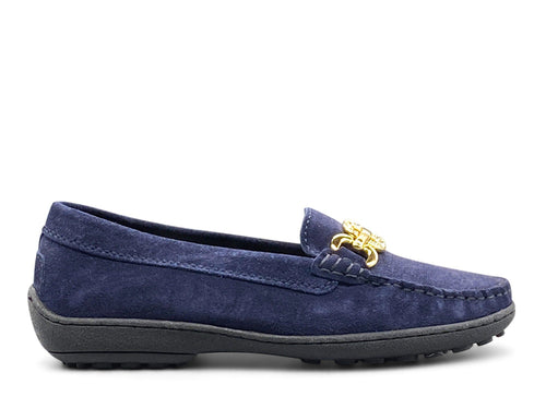 Blue Suede Flat Shoe - Gold Hardware Nimmo Shoes