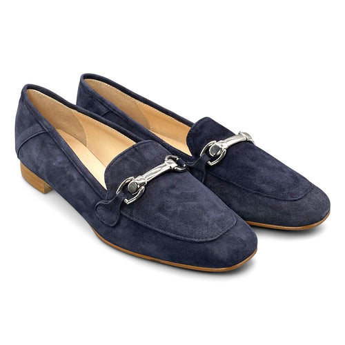 Blue Suede Flat Shoe Nimmo Shoes