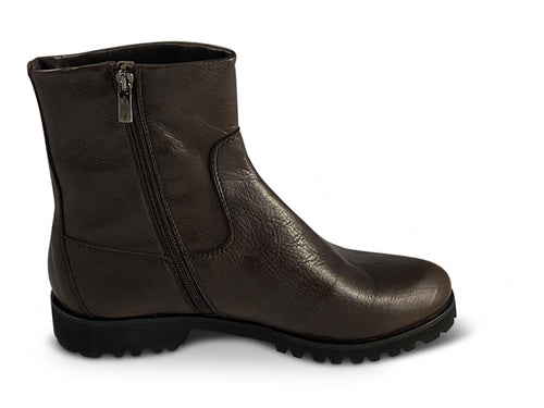 Brown Leather Ankle Boots with Zip Shoe Nimmo shoes