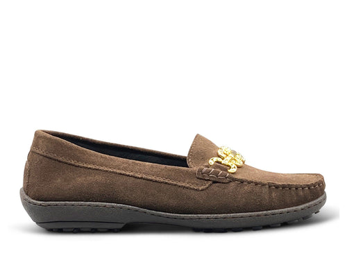 Brown Suede Flat Shoe - Gold Hardware Nimmo Shoes