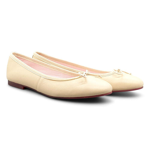 Cream Leather Ballerina Shoe Nimmo shoes