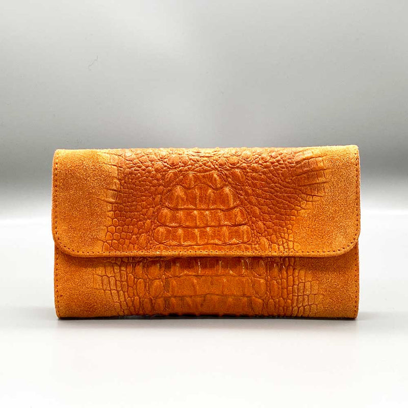Crocodile Embossed / Suede Leather - Orange Clutch Nimmo shoes