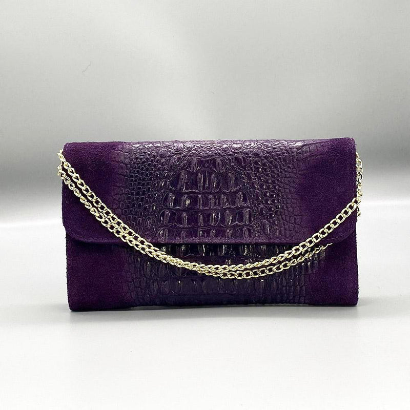 Crocodile Embossed / Suede Leather - Purple Clutch Nimmo shoes