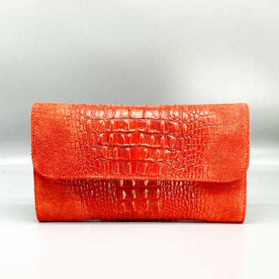 Crocodile Embossed / Suede Leather - Red Clutch Nimmo shoes
