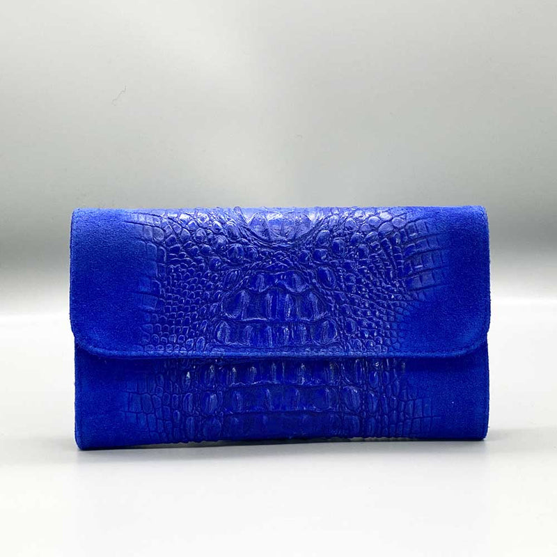 Crocodile Embossed / Suede Leather - Royal Blue Clutch Nimmo shoes