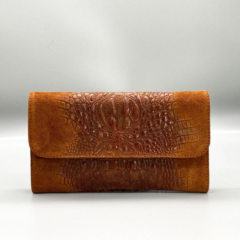 Crocodile Embossed / Suede Leather - Tan Clutch Nimmo shoes