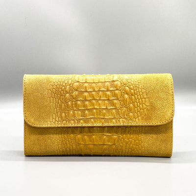 Crocodile Embossed / Suede Leather - Yellow Clutch Nimmo shoes
