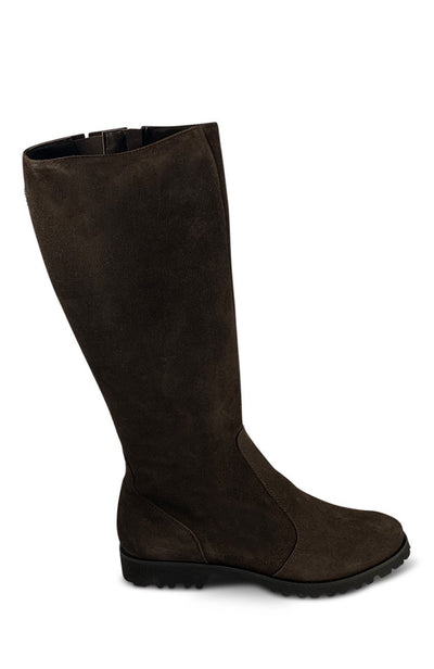 Dark Brown Long Suede Boot - (Wide - Calf) XL Shoe Nimmo shoes