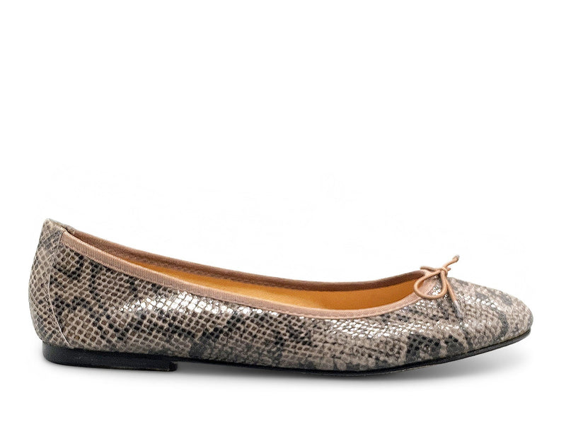 Dark Brown Snakeskin Ballerina Shoe Nimmo shoes